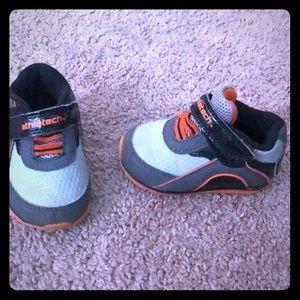 Size 4 baby athletech shoes black grey and orange